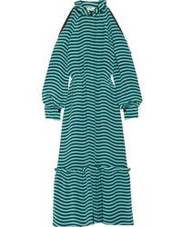 Robe midi en soie à rayures horizontales turquoise Fendi
