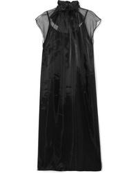 Robe midi en soie noire Prada