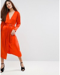Robe midi en soie orange