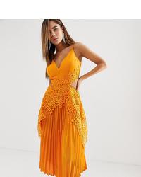 Robe midi en soie plissée orange ASOS DESIGN
