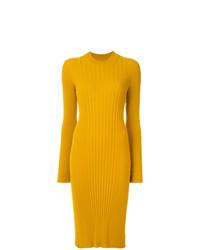 Robe midi en tricot jaune Maison Margiela