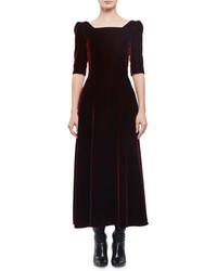 Robe midi en velours bordeaux