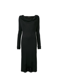 Robe midi fendue noire Versace