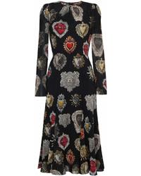 Robe midi imprimée noire Dolce & Gabbana
