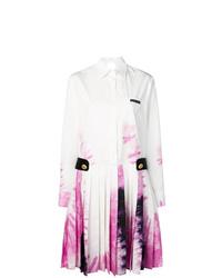Robe midi imprimée tie-dye blanche Prada