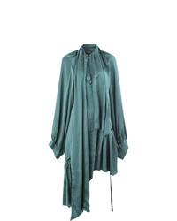 Robe midi plissée bleu canard Ann Demeulemeester