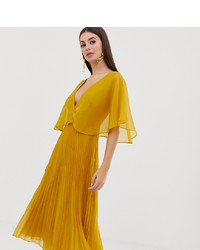 Robe midi plissée jaune Asos Tall