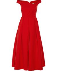 Robe midi plissée rouge