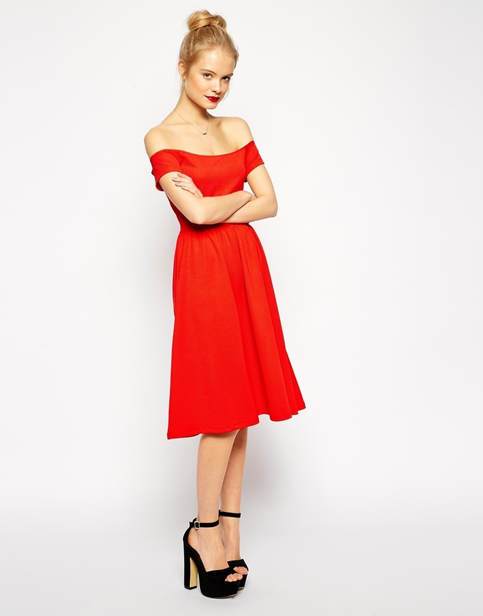 bfa0a64ff36 ... Robe midi rouge Asos ...