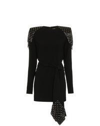 Robe moulante à clous noire Saint Laurent