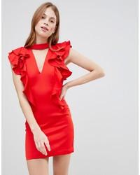 Robe moulante à volants rouge Glamorous