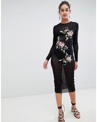 Robe moulante brodée noire Glamorous