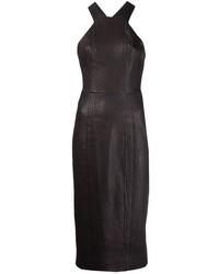 Robe moulante en cuir noire