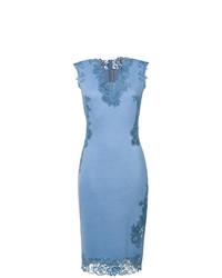 Robe moulante en dentelle bleu clair Ermanno Scervino