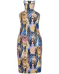 Robe moulante imprimée multicolore