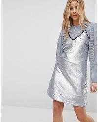 Robe nuisette pailletée argentée New Look