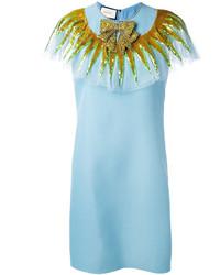 Robe pailletée ornée bleu clair Gucci