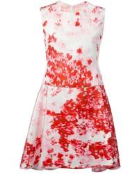 Robe patineuse à fleurs blanc et rouge