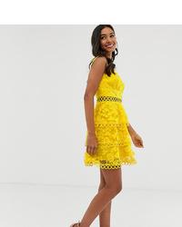 Robe patineuse à fleurs jaune ASOS DESIGN