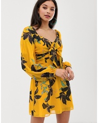 Robe patineuse à fleurs jaune Talulah