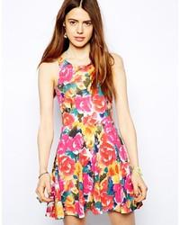 Robe patineuse à fleurs multicolore