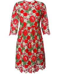 Robe patineuse à fleurs rouge P.A.R.O.S.H.