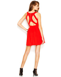 Robe Patineuse Decoupee Rouge Guess Robe Patineuse Decoupee Rouge