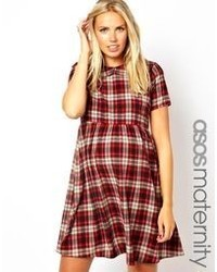Robe patineuse écossaise rouge Asos Maternity