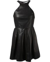 Robe patineuse en cuir noire