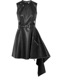 Robe patineuse en cuir noire Alexander McQueen