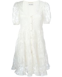 Robe patineuse en dentelle blanche Saint Laurent