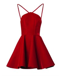 Robe patineuse en velours rouge