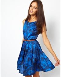 Robe patineuse imprimée bleue Glamorous