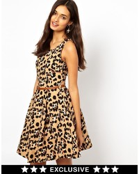 Robe patineuse imprimée léopard jaune Glamorous
