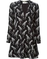 Robe patineuse imprimée noire et blanche Saint Laurent