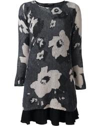 Robe-pull à fleurs noire Twin-Set