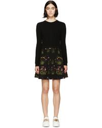 Robe-pull à fleurs noire Valentino