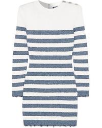 Robe-pull à rayures horizontales blanc et bleu marine Balmain