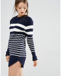 Robe-pull à rayures horizontales bleu marine Style Mafia