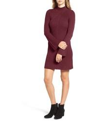 Robe-pull en tricot bordeaux