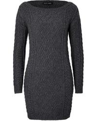 Robe-pull en tricot gris foncé
