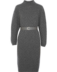 Robe-pull en tricot gris foncé Fendi