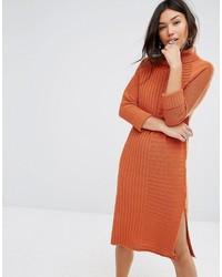 Robe-pull en tricot marron Boohoo