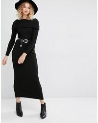 Robe-pull en tricot noire Mango