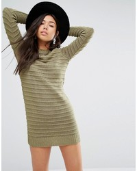 Robe-pull en tricot olive Boohoo