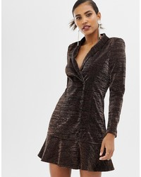 Robe smoking marron foncé