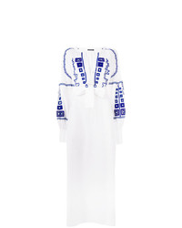 Robe style paysanne brodée blanc et bleu Wandering