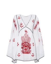 Robe style paysanne brodée blanc et rouge Vita Kin