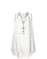 Robe style paysanne brodée blanche Isabel Marant Etoile