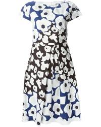Robe trapèze à fleurs blanc et bleu marine Jil Sander